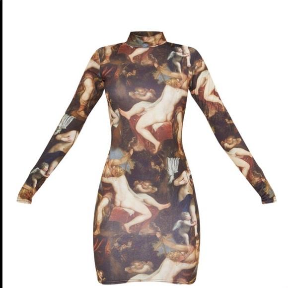Renaissance Print, Long Sleeve Mini Dress